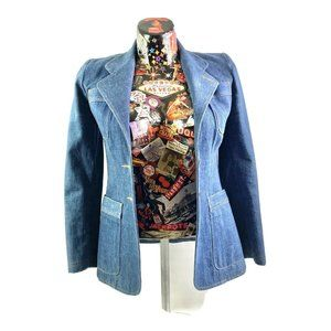 Vintage Womens Denim Jean Jacket Blazer Size 44 Me